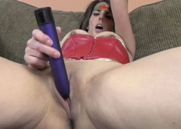 Sultry superhero Lavender fucks a toy