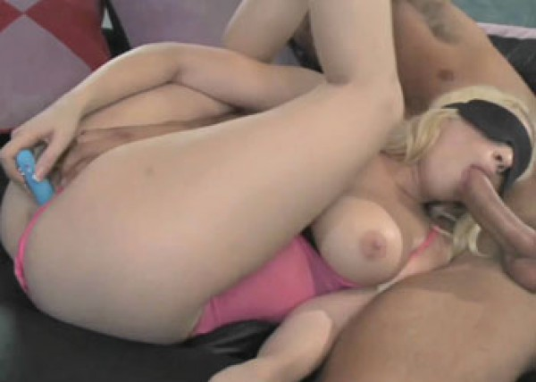 Busty blonde Kagney gets a big facial