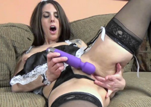 Horny maid Lavender plays with her twat